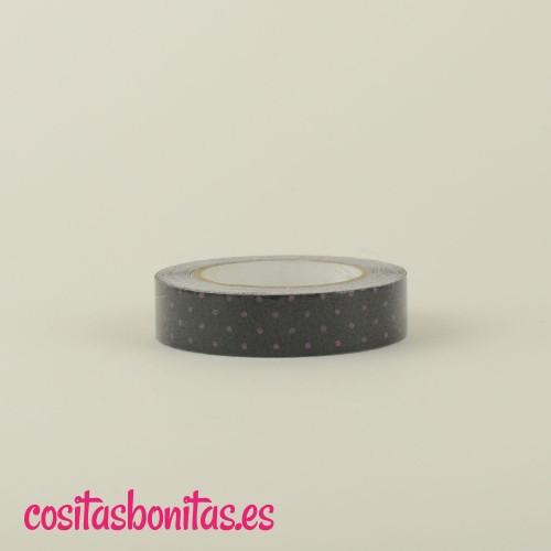 FabricTape_negro_dots_lilas